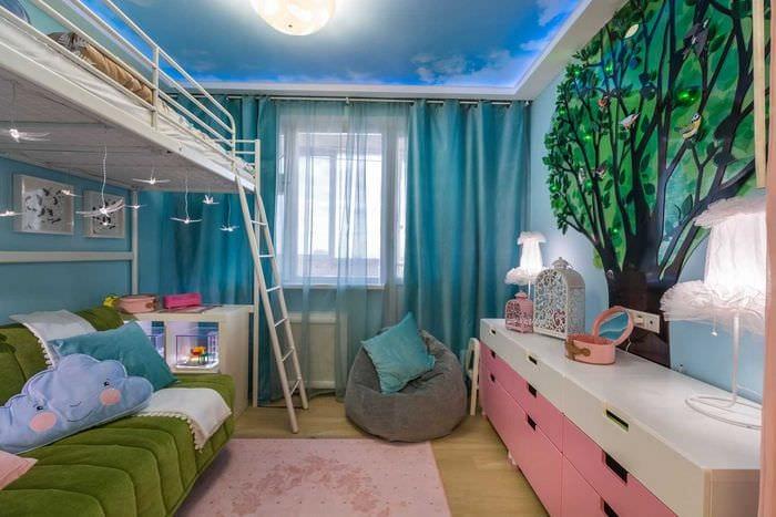 вариант светлого дизайна комнаты для девочки 12 кв.м