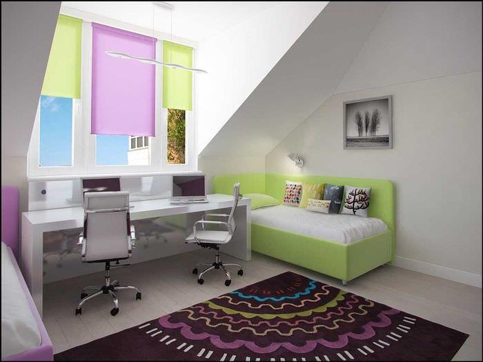 идея необычного стиля спальной комнаты для девочки в современном стиле