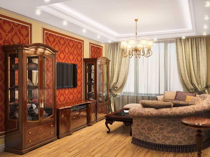 идея светлого стиля гостиной в частном доме