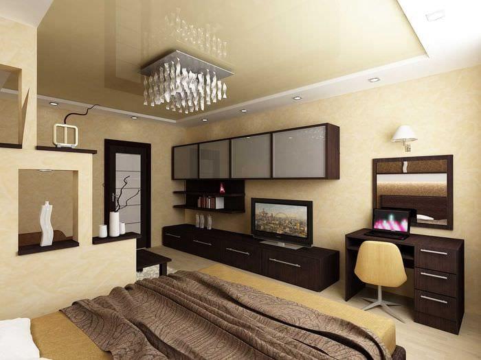 вариант необычного дизайна спальной комнаты 18 кв.м.