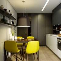 идея яркого интерьера кухни 9 кв.м фото