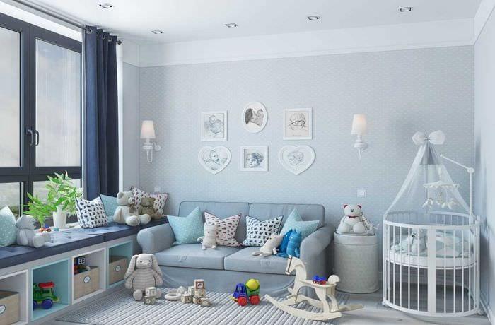 идея яркого современного дизайна детской комнаты