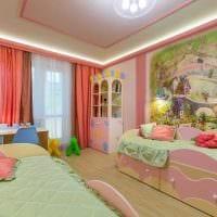 вариант необычного дизайна детской комнаты для двоих детей фото