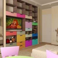 пример красивого интерьера детской комнаты для двоих детей картинка