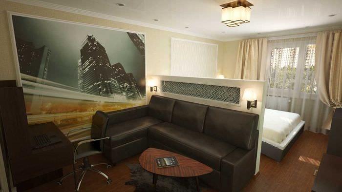 идея яркого дизайна спальни гостиной 20 кв.м.