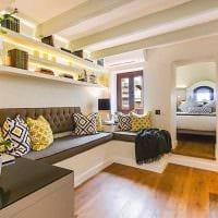вариант яркого дизайна спальни гостиной 20 кв.м. фото