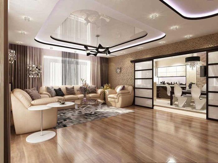 идея светлого стиля зала в частном доме