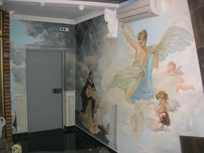 идея светлого стиля дома с росписью стен