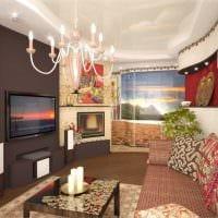 идея яркого дизайна спальни гостиной картинка