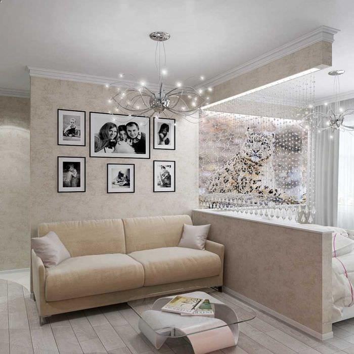идея необычного интерьера спальни гостиной