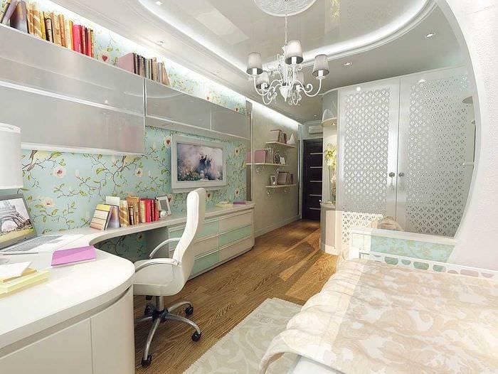 идея светлого интерьера комнаты для девочки 12 кв.м