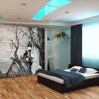 вариант светлого дизайна квартиры с росписью стен фото