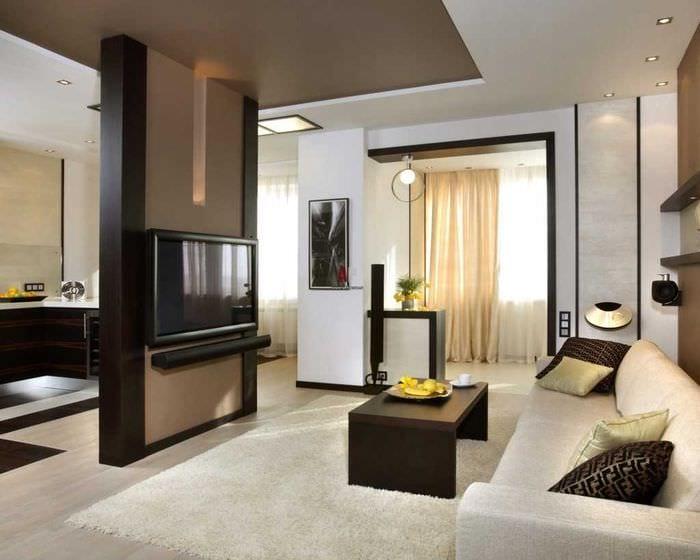 идея яркого дизайна гостиной комнаты 18 кв.м.