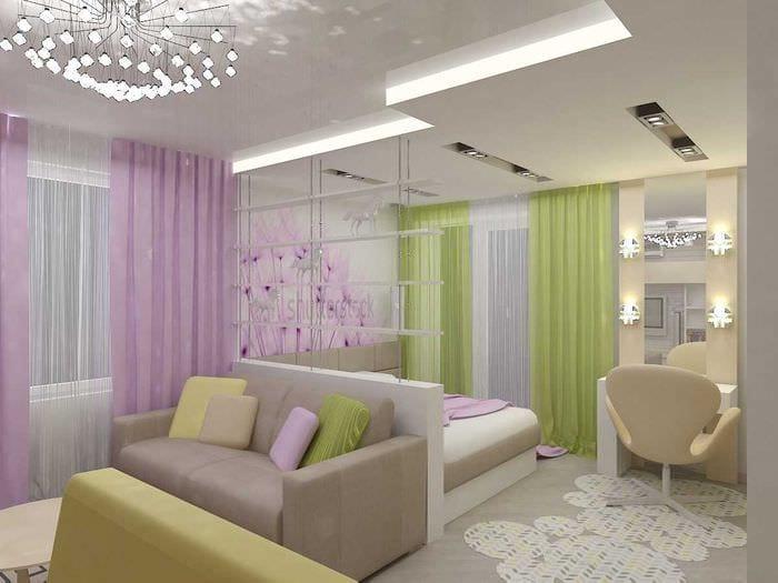 вариант красивого стиля гостиной спальни 20 кв.м.