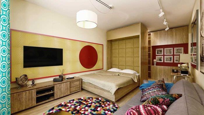 идея яркого дизайна спальной комнаты 18 кв.м.