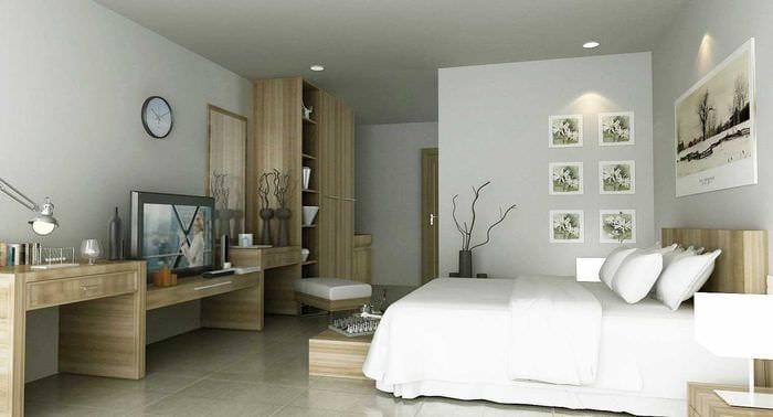 идея красивого интерьера спальни для девочки в современном стиле