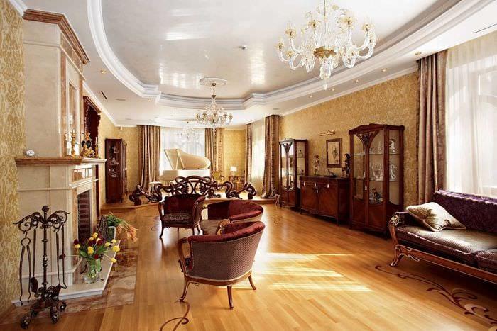 вариант необычного дизайна гостиной в частном доме