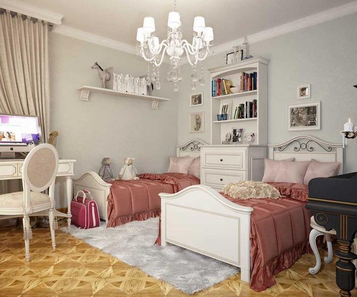 идея необычного стиля детской комнаты для двоих девочек