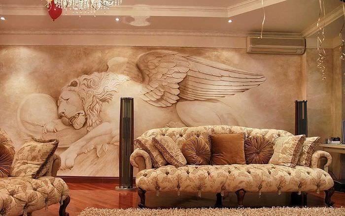 идея яркого интерьера дома с росписью стен