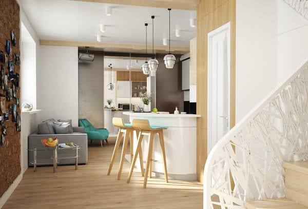идея светлого интерьера малогабаритной комнаты картинка