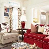 вариант яркого сочетания бежевого цвета в декоре комнаты фото