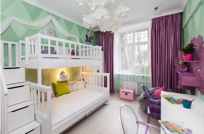 вариант красивого современного стиля детской комнаты