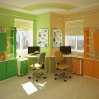 идея яркого интерьера детской комнаты для двоих детей фото