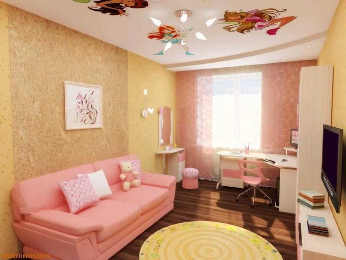 идея красивого стиля детской комнаты для девочки 12 кв.м