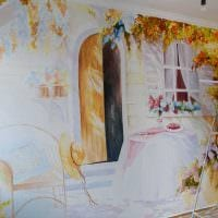 вариант светлого декора квартиры с росписью стен фото