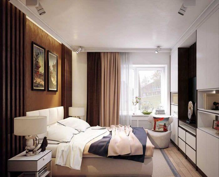 вариант красивого интерьера маленькой комнаты в общежитии