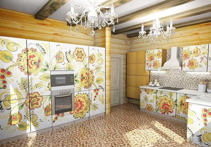 пример применения русского стиля в ярком декоре квартире