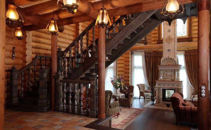 идея применения русского стиля в красивом дизайне квартире