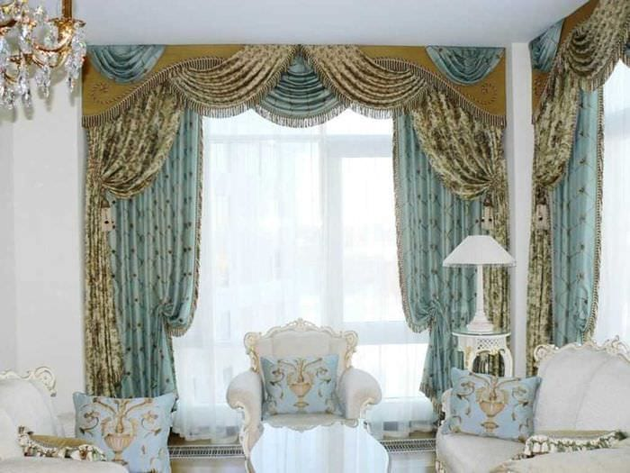 идея применения современных штор в необычном интерьере комнате