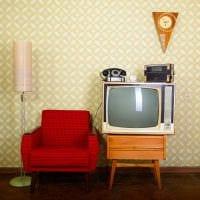 пример применения красивого интерьера комнаты в стиле ретро фото