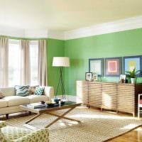 вариант применения зеленого цвета в ярком декоре комнаты фото