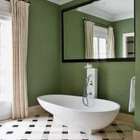 вариант использования зеленого цвета в необычном интерьере квартиры фото