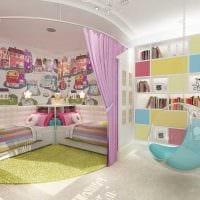 пример яркого дизайна детской для двоих девочек фото