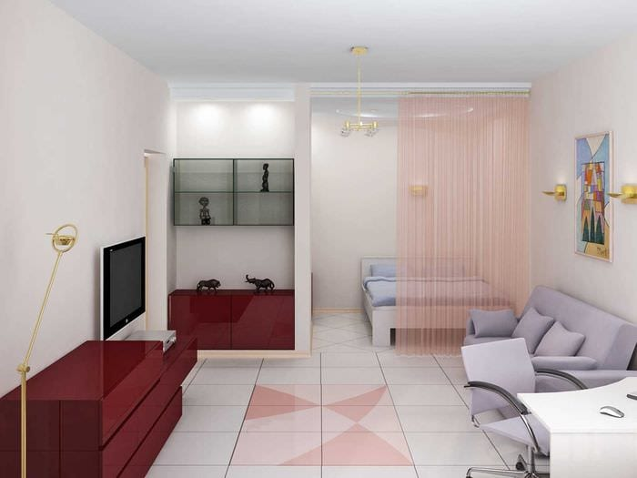 идея необычного интерьера двухкомнатной квартиры