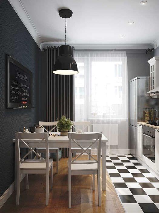 пример яркого интерьера кухни 9 кв.м