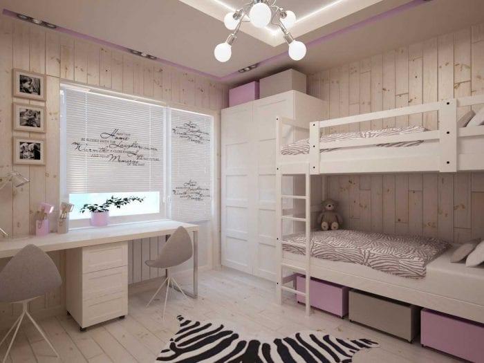 идея яркого декора детской комнаты для двоих девочек