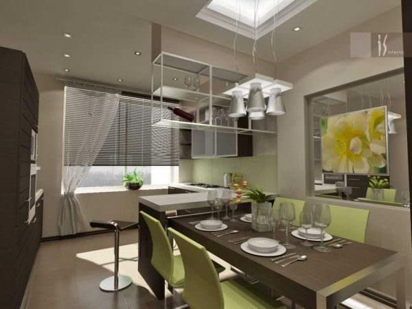 идея использования яркого дизайна кухни фото