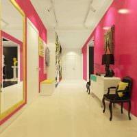 пример использования розового цвета в красивом дизайне комнате фото