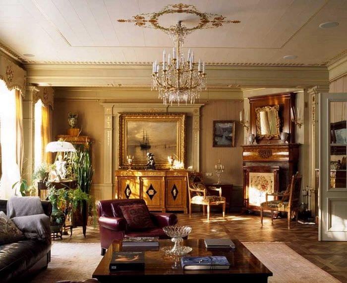 идея использования русского стиля в необычном интерьере комнате