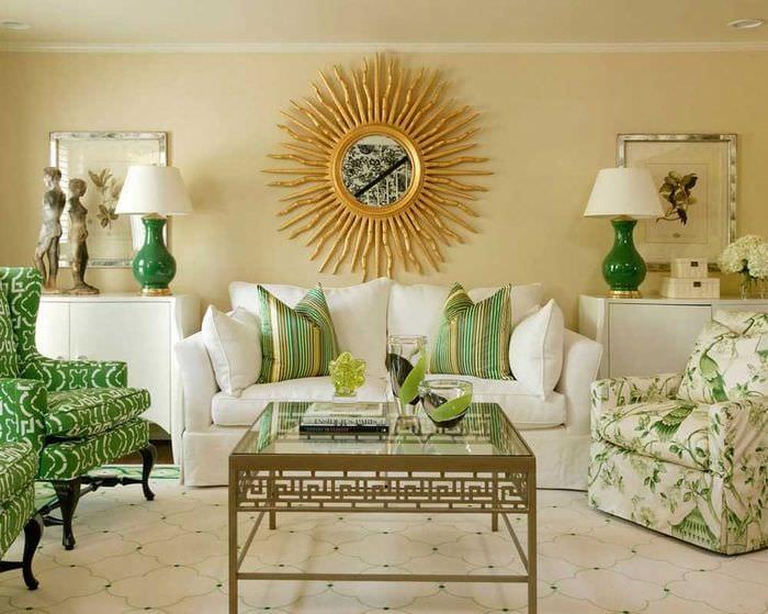 пример использования зеленого цвета в необычном дизайне комнаты