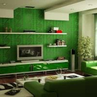 пример использования зеленого цвета в красивом дизайне квартиры картинка