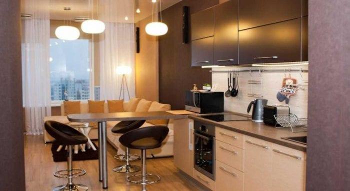 идея необычного декора кухни 14 кв.м