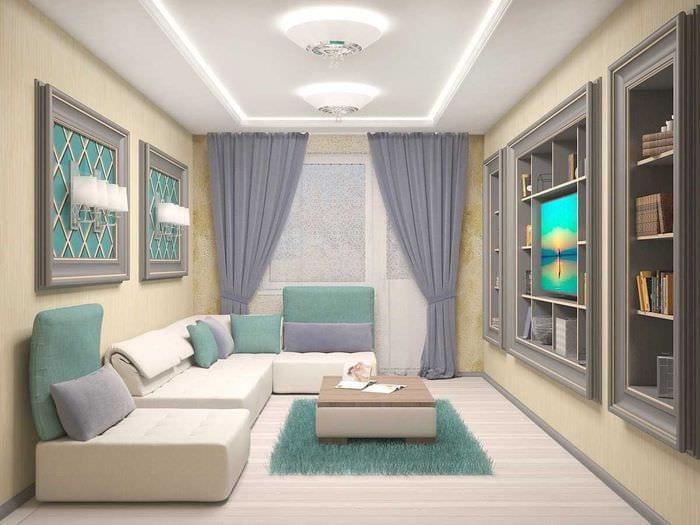 вариант яркого интерьера двухкомнатной квартиры