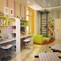 вариант красивого дизайна детской комнаты для двоих детей картинка