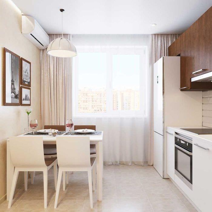 пример светлого декора кухни 8 кв.м
