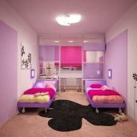 идея необычного дизайна детской комнаты для двоих детей фото